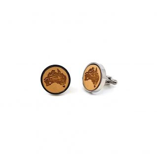 Round stainless steel cufflinks with a eucalytpus wood insert. Outline of Australian and Australian flag have been lasered onto the wooden insert.