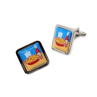 Hot chips and sauce cufflinks