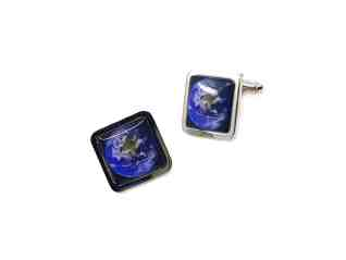Stainless steel square cufflinks of the world from above