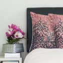 Pink & Black 100% Linen Cushion Cover