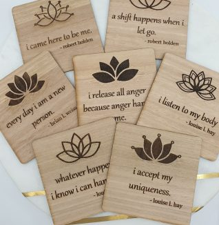 Weekly affirmation cards made on eucalyptus wood.