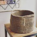 Crochet Jute Basket.