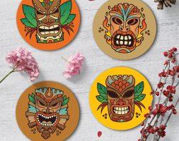 Exotic Tiki Coaster Set