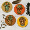 Mexican Sugar Skulls Coaster Set