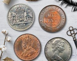 Vintage Australian Coins Coaster Set