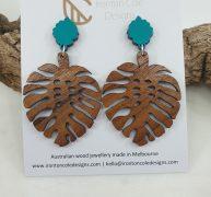 Wooden Monstera earrings