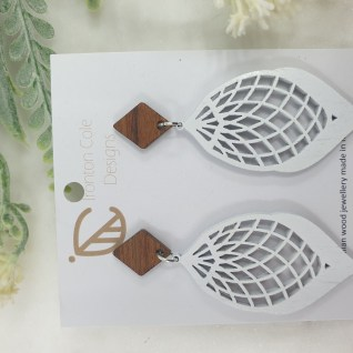 White cocoon wooden earrings
