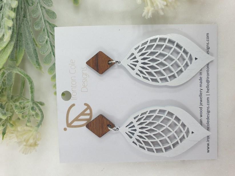 White cocoon wooden earrings
