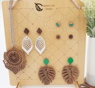 Wooden earring stand