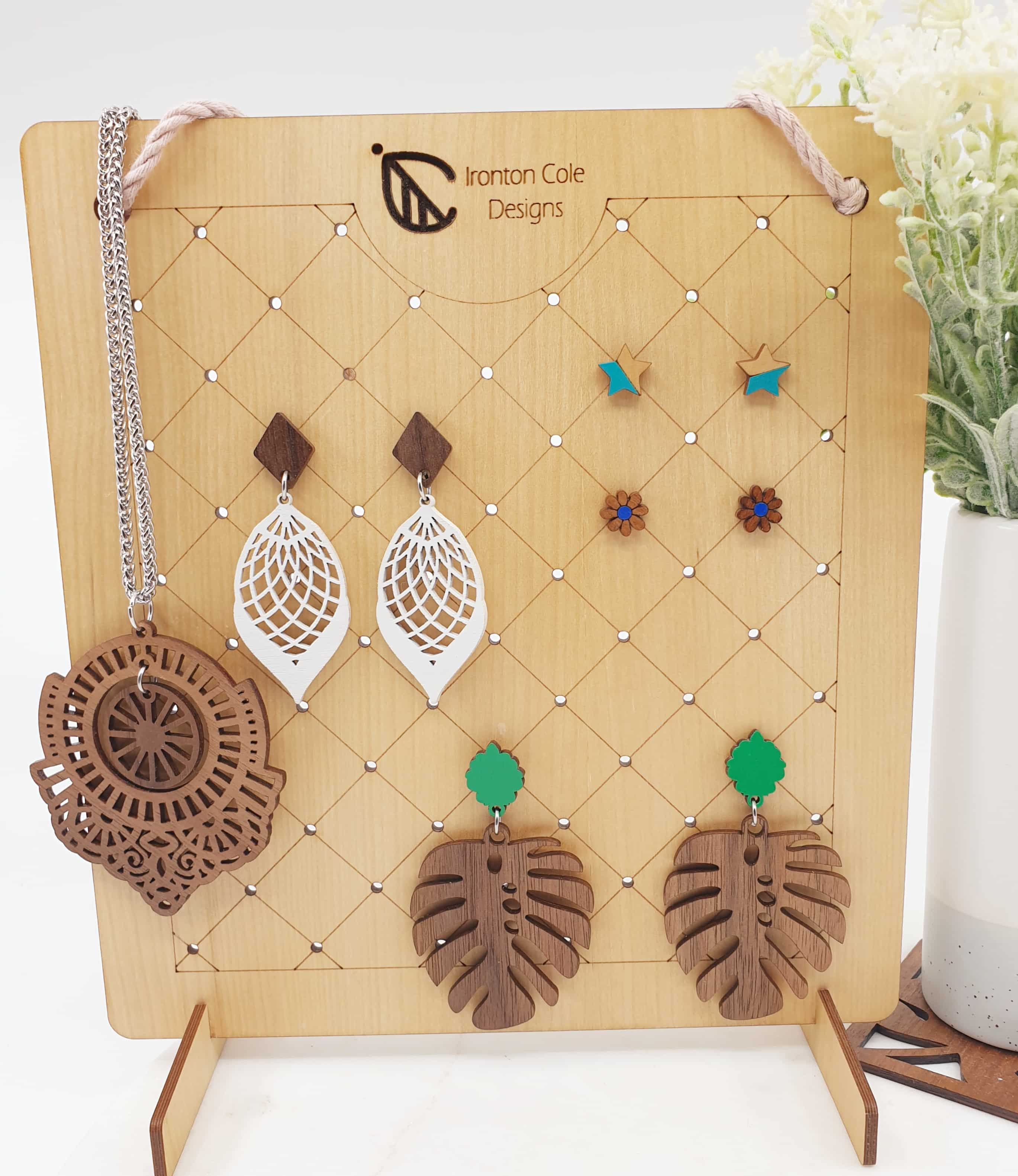 Wooden earring holder