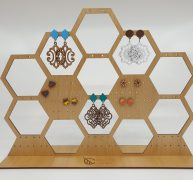 Wooden honeycomb earring stand