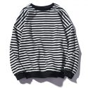 Round Neck Striped Long Sleeve Sweatshirt Black