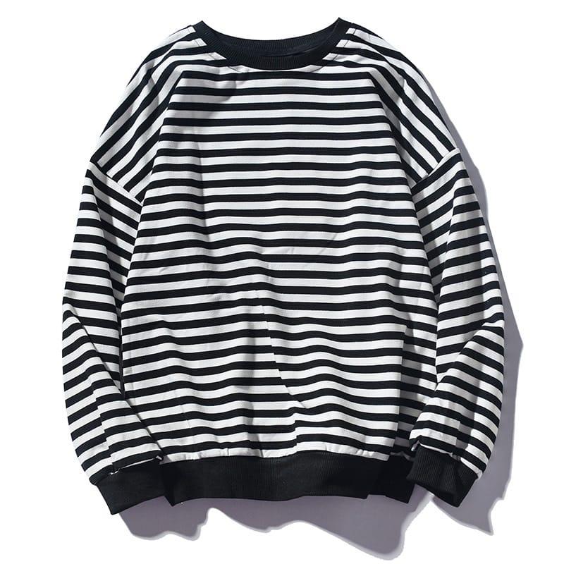 Round Neck Striped Long Sleeve Sweatshirt Black