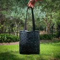 Tote bag made by deflated inner tubes from bike tires