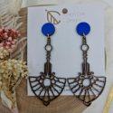 Art deco wooden earrings