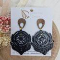 Black boho wooden earrings