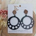 Double circle black earrings