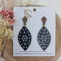 Black wooden flower earrings