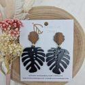 Black monstera earrings